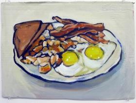 Breakfast,  2010   Acrylic on Cardboard   14x 18 in.