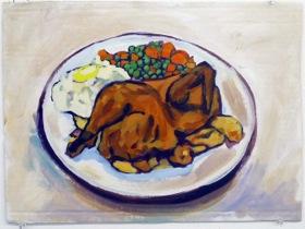 Dinner,  2010   Acrylic on Cardboard   14x 18 in.