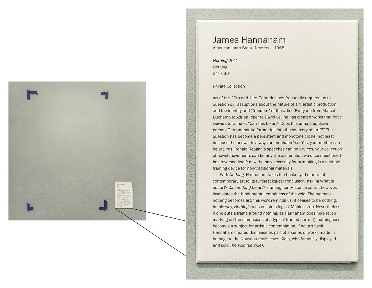 Nothing , 2012 Painter's Tape, Placard 24 x 36 in.