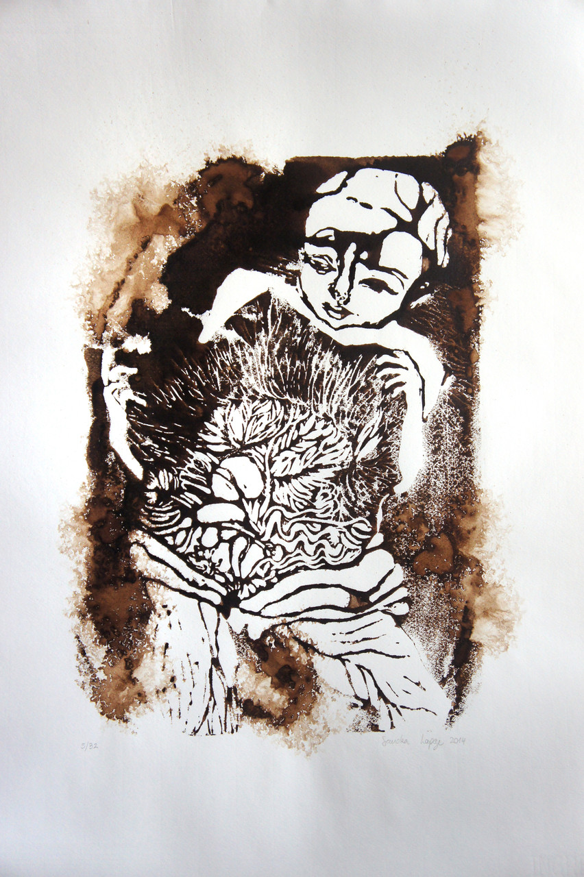 Garden , 2014 Monotype Linoleum Print, Walnut Ink on Paper 25 x 19 in.