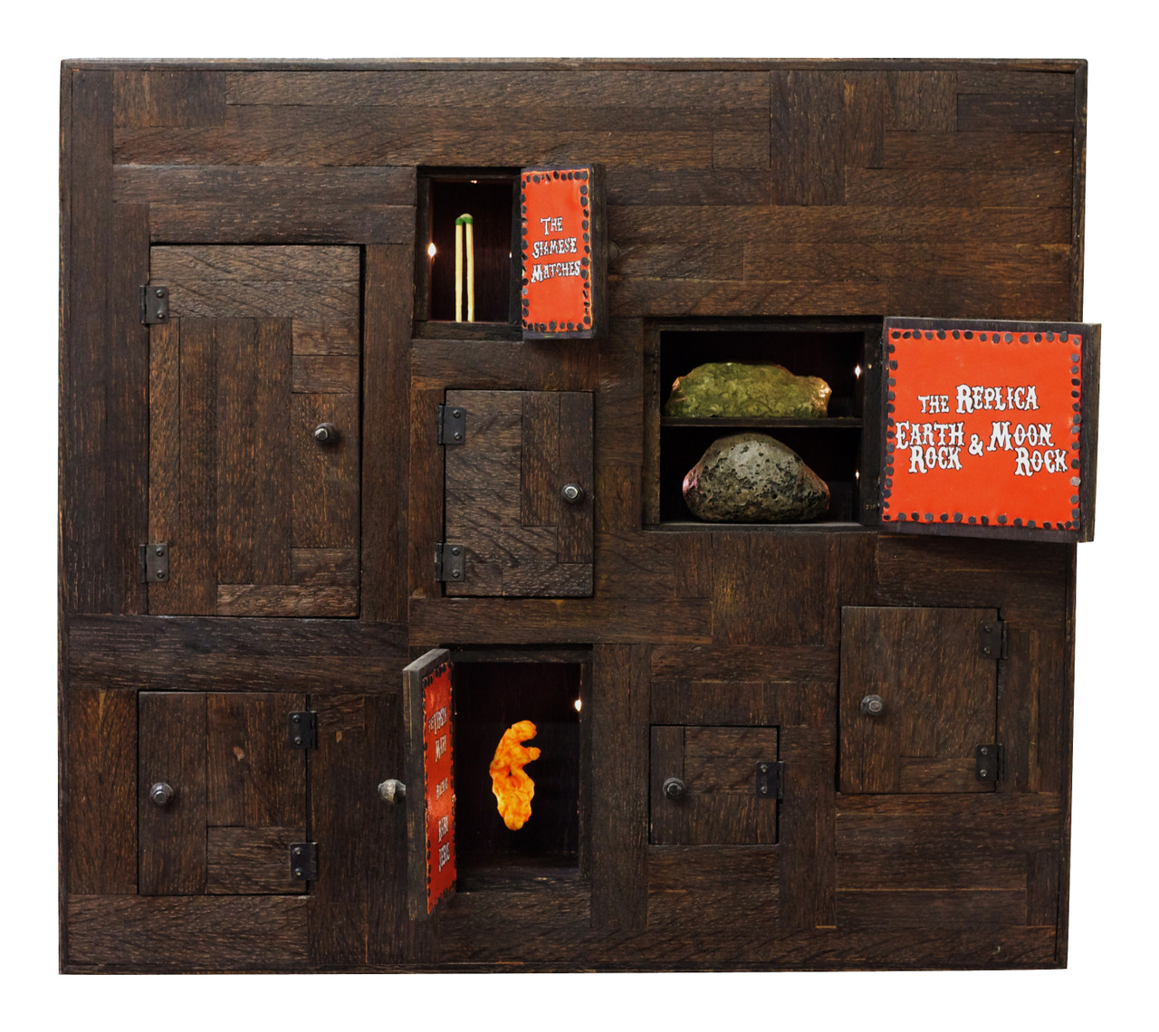 The Budget Sideshow , 2013 Handmade Oak Cabinet, LED Lights 20 x 20 x 6 in.