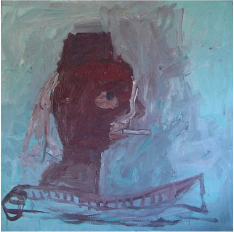Fez , 1991 Oil on Wood Panel 23.7x 23.7 in.