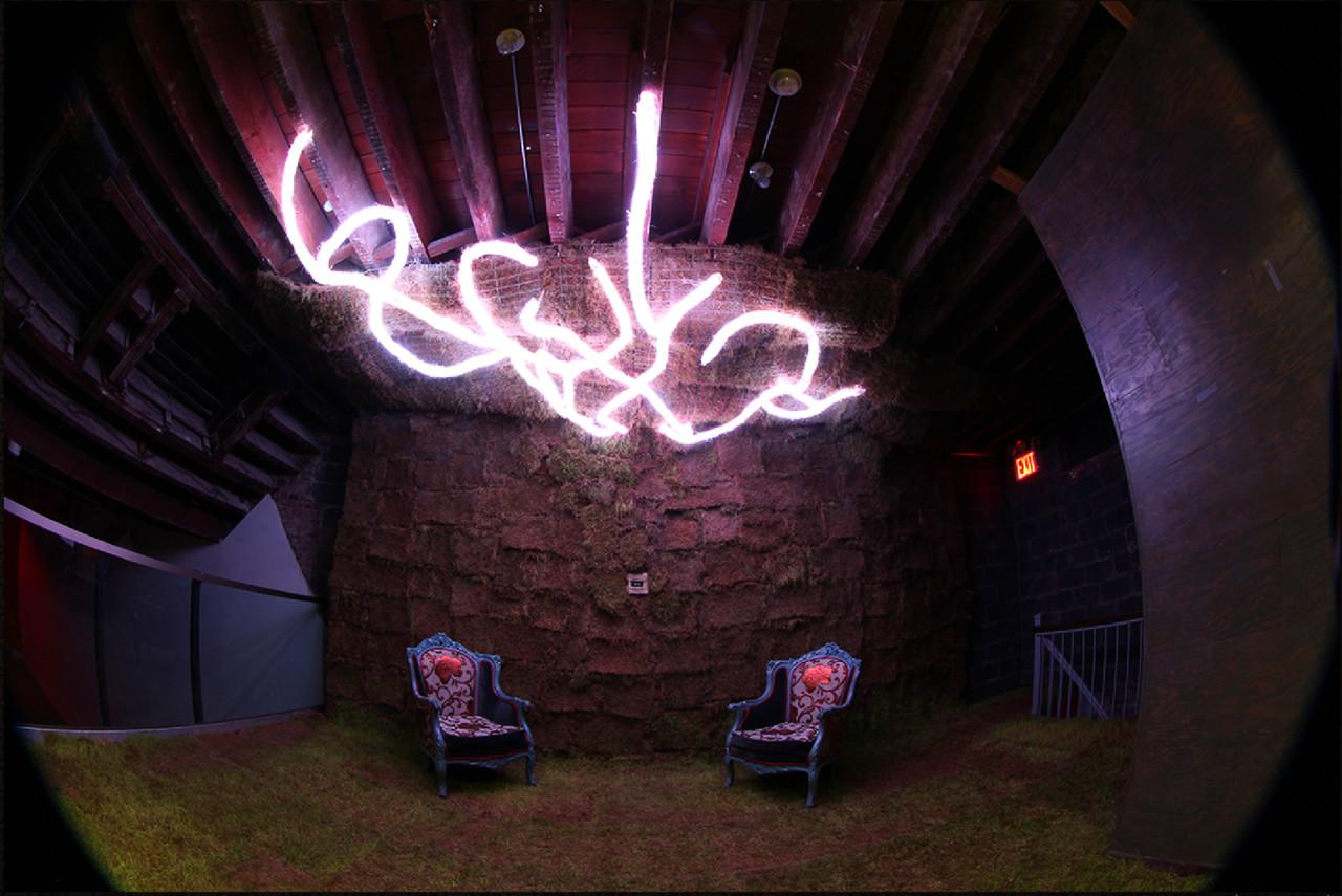 Murmur , 2015  Grass sod, LEDs, remote sensor, rice paper, rope  Dimensions Variable