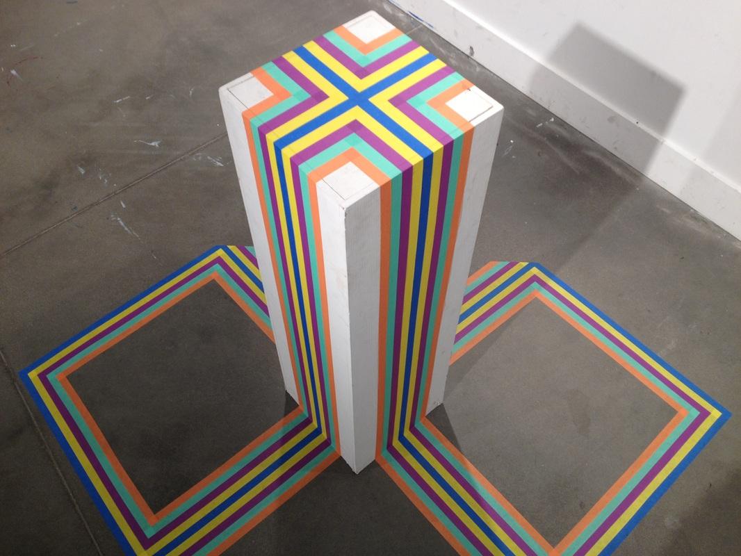 Crest , 2014 Masking tape, pedestal 5 x 5 x 4.5 ft.