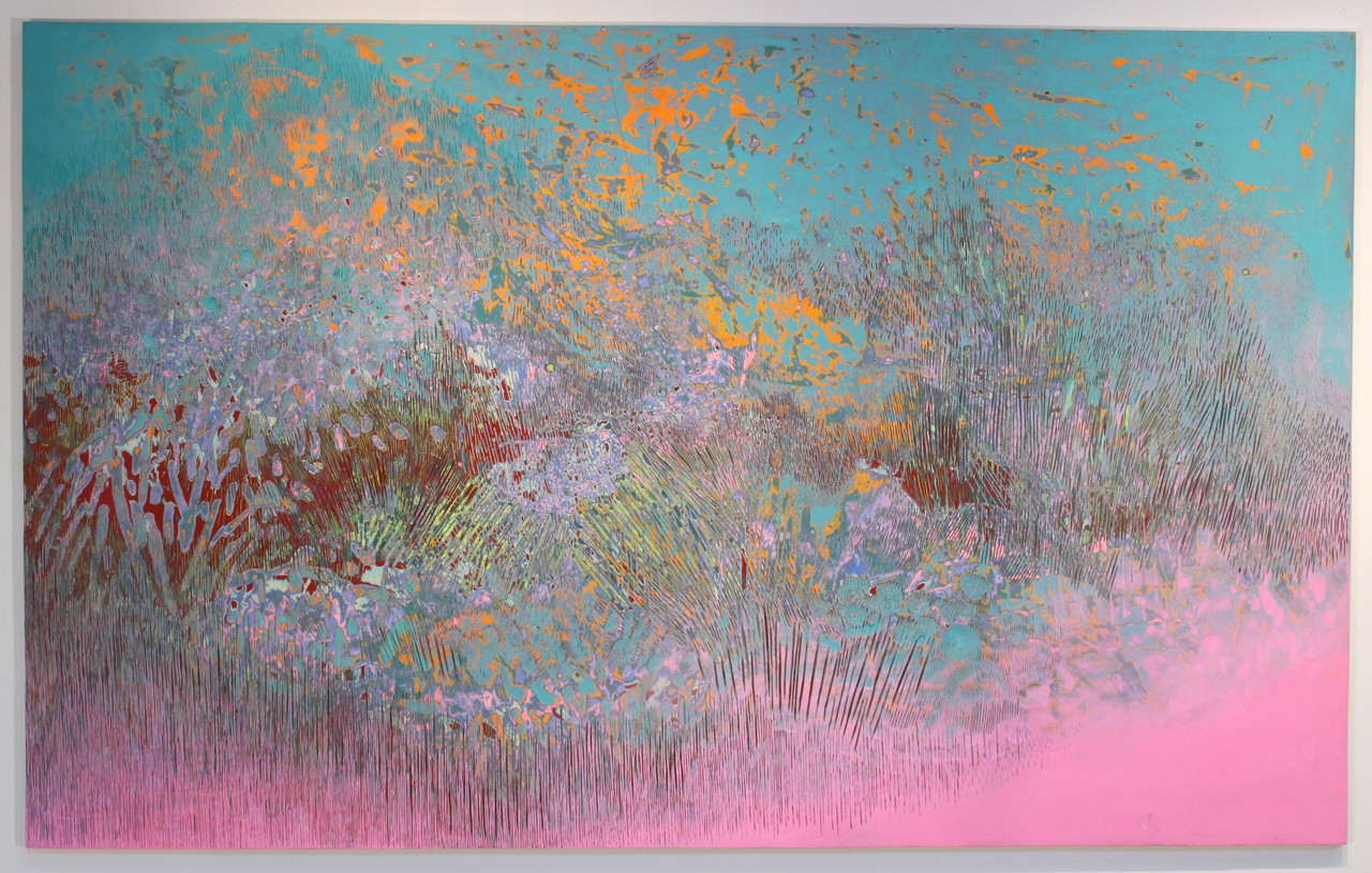 Wildfire , 2014 Acrylic on panel  48 x 77 in.