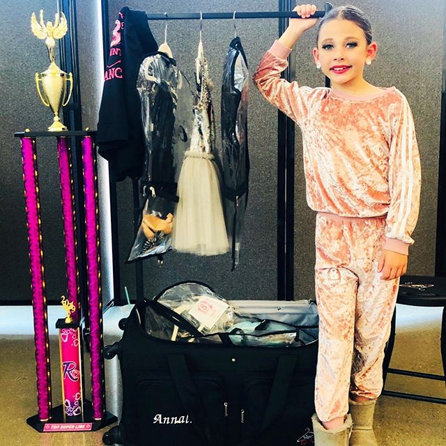 When your dance season is complete with a custom Tracksuit and @racnroll_ (the trophy is a bonus). . . . . Love seeing this custom set on @annalisefelix for @8countdanceacademy