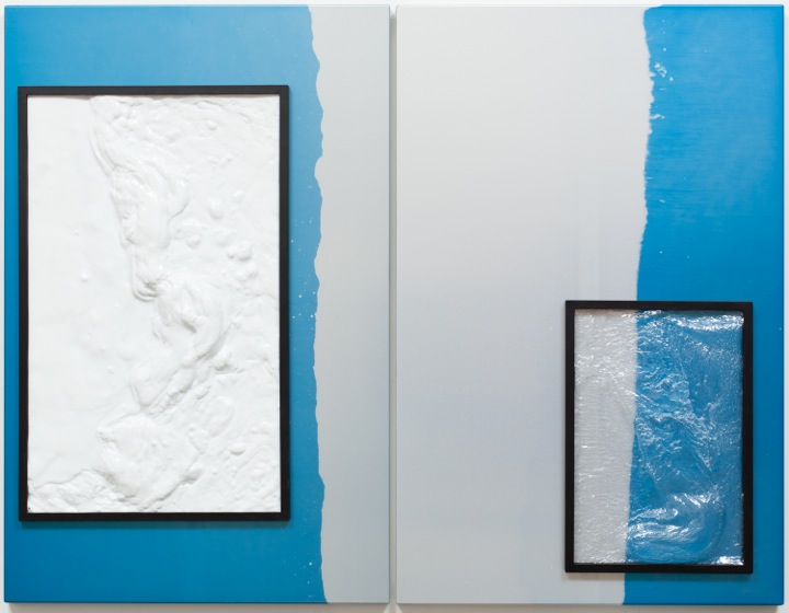NICOLAS DESHAYES  UNTITLED, 2013  ANODISED ALUMINIUM, VACUUM FORMED PLASTIC IN 2 PANELS,EACH:  43 X 28 X 3 IN  110 X 71 X 8 CM  10,000 GBP