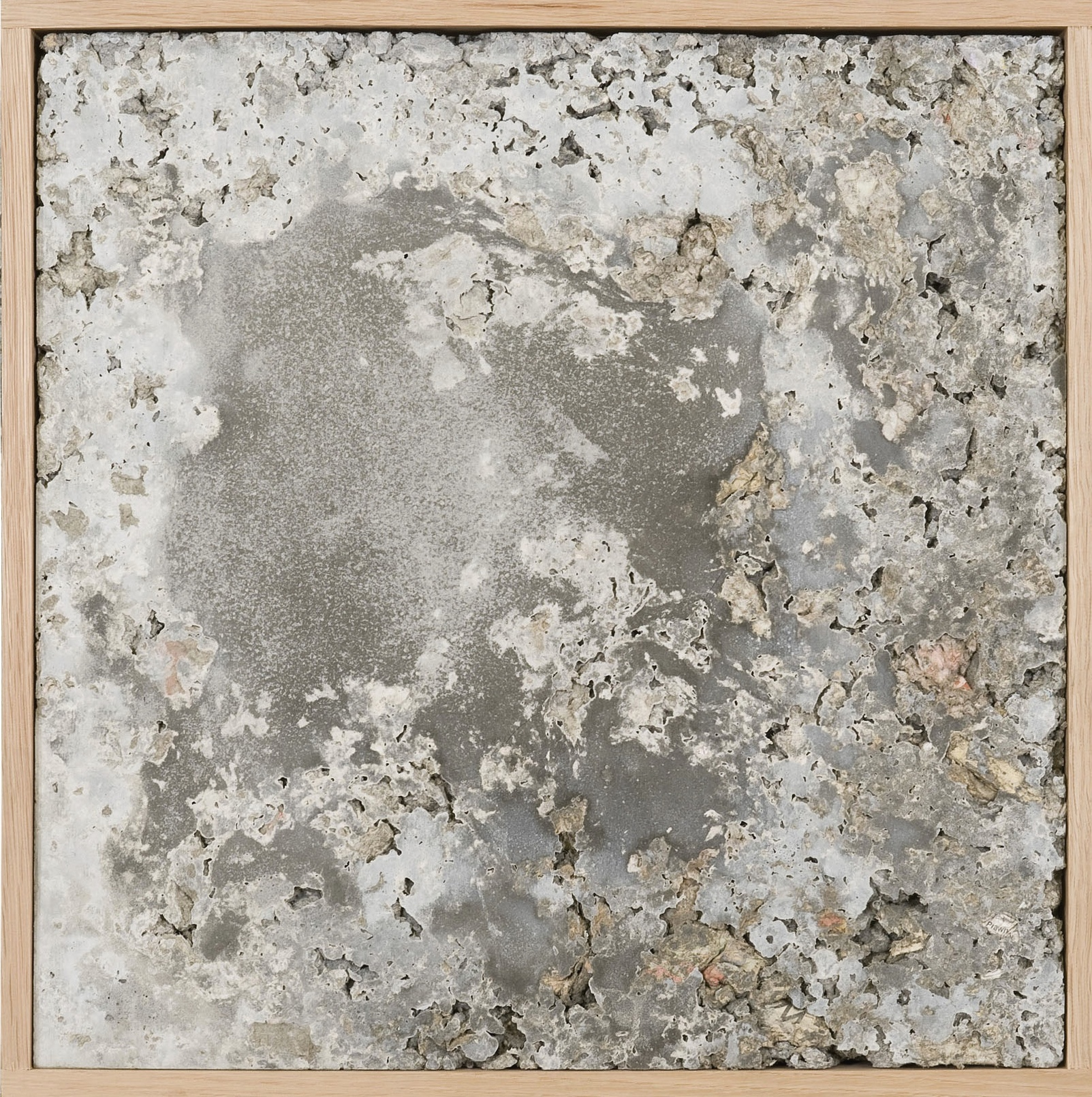OSCAR TUAZON  UNTILED PAPERCRETE, 2010  CEMENT, PAPER AND WOOD  17 X 17 IN  43 X 43 CM  SOLD