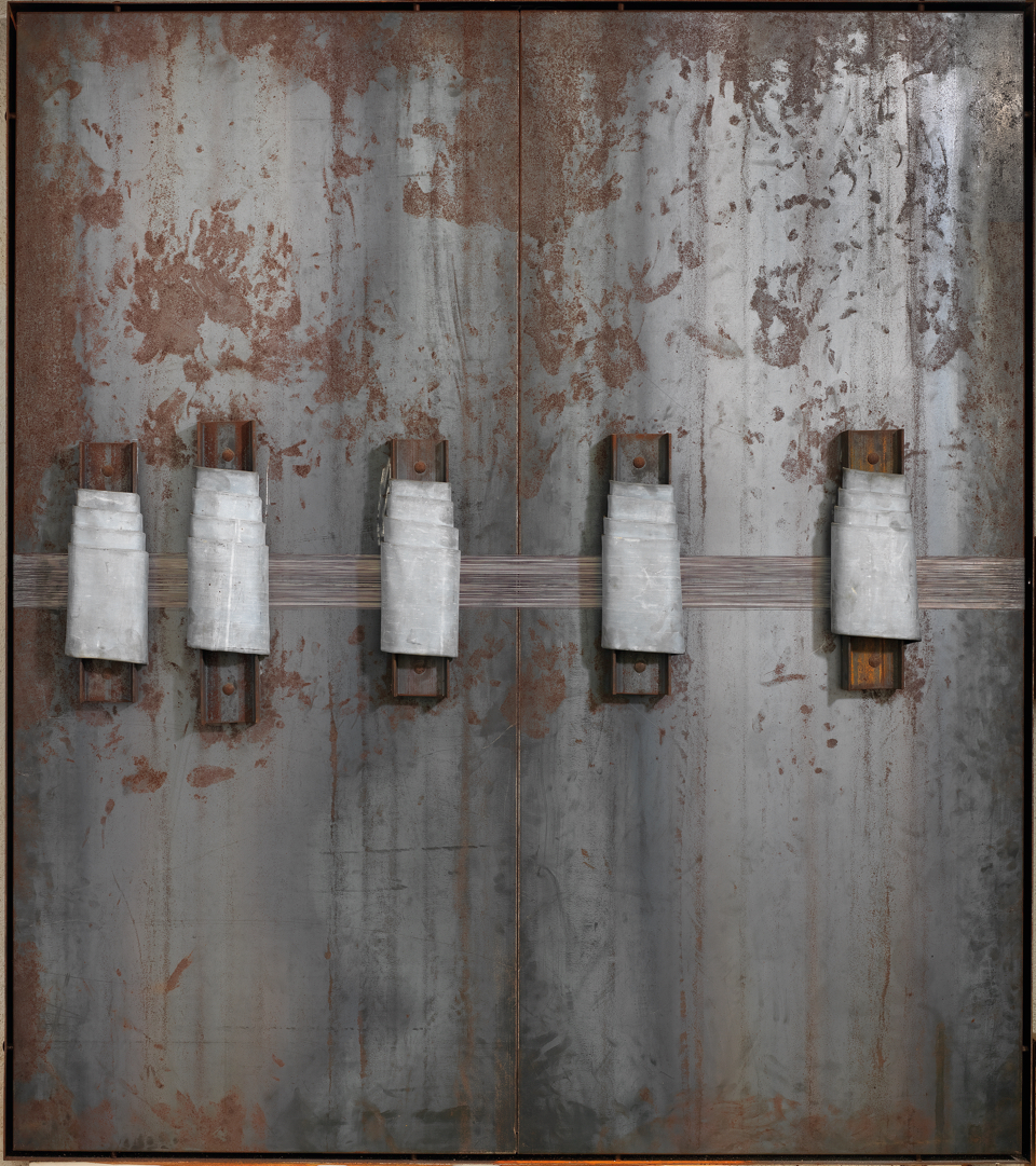 JANNIS KOUNELLIS  UNTITLED, 1989  LEAD, STEEL, IRON AND CHALK  80 X 72 X 8 IN  203 X 184 X 20.5 CM  ON RESERVE