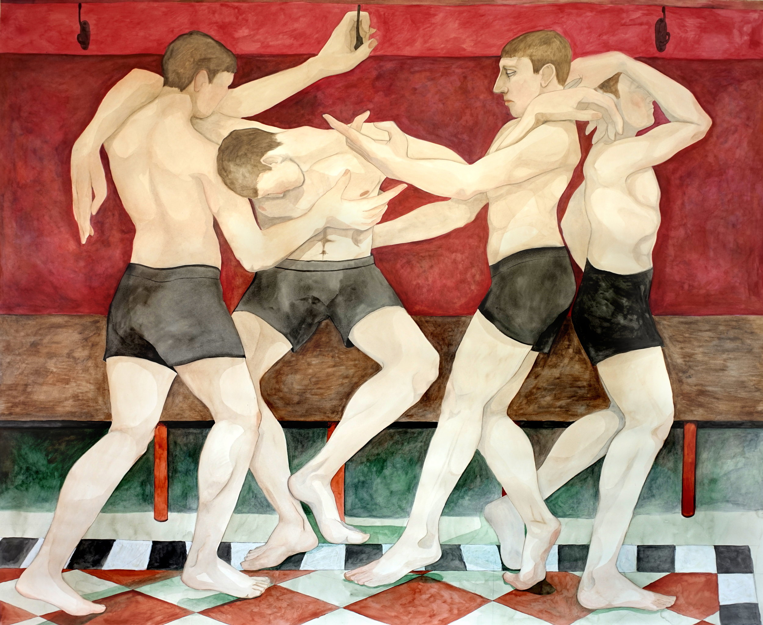 William Brickel. The Bullies, 2019, watercolours on paper, 152 x 170 cm