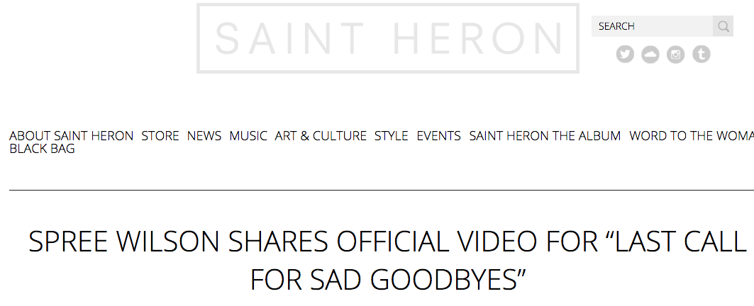 "SAINT heron feature for ""Last call for sad goodbyes"""