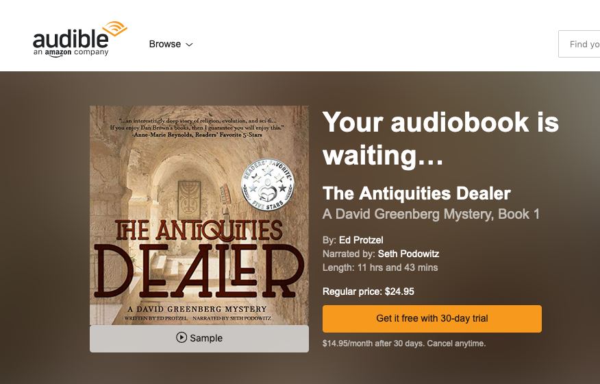 Audiobook   version of THE ANTIQUITIES DEALER now available on Audible, Amazon & iTunes!    Sample it here.