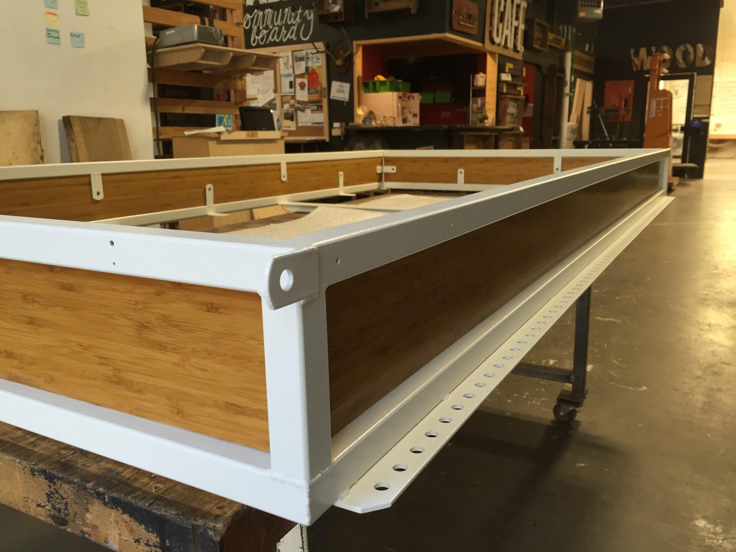 Finished base frame and panels