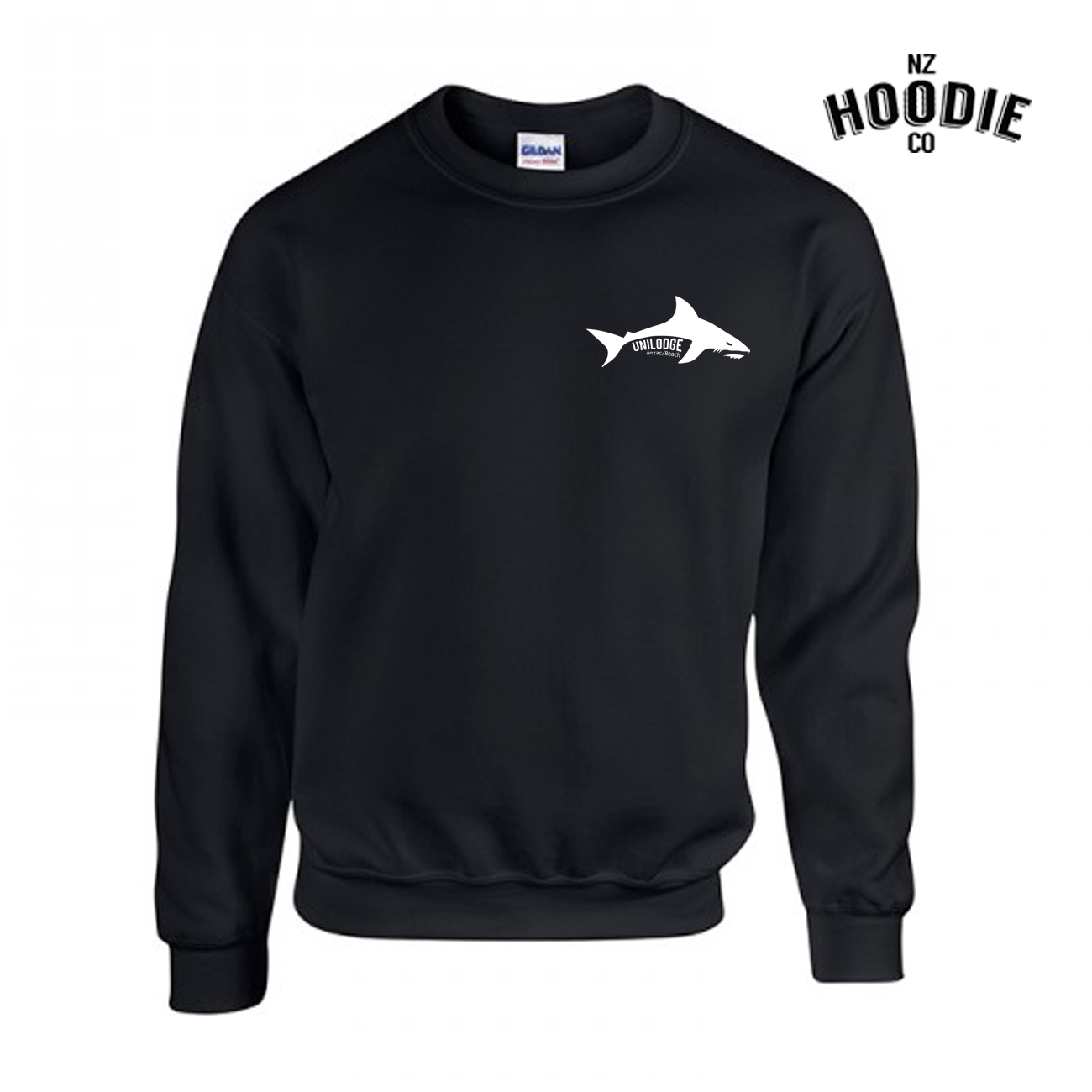 UniLodge Anzac Beach SHARK Gilden Neck Crew FRONT.jpg