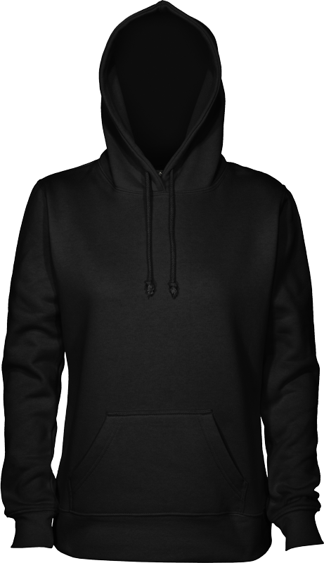 FGH - Womens 280 Pullover Hoodie black-front-hood-up.png