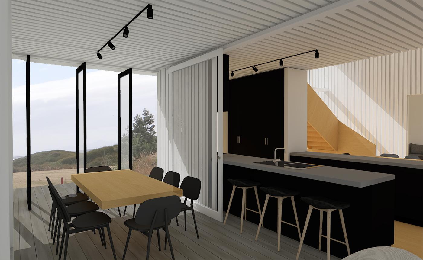 SGA Omaha house render kitchen dining
