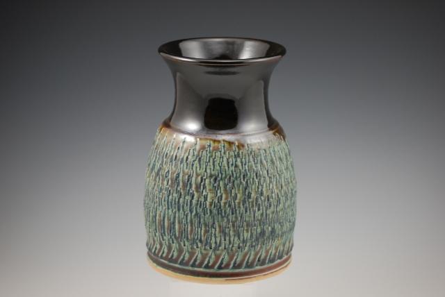 s Blue/Temoku Etched Vase