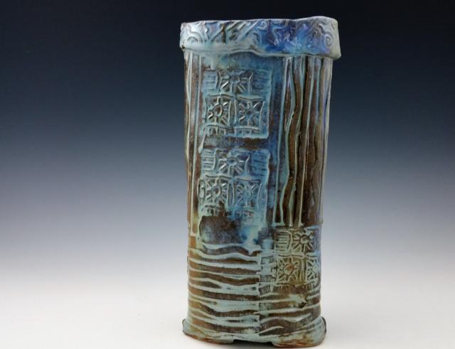 Wood Fired Orange Ruile Handbuilt Vase