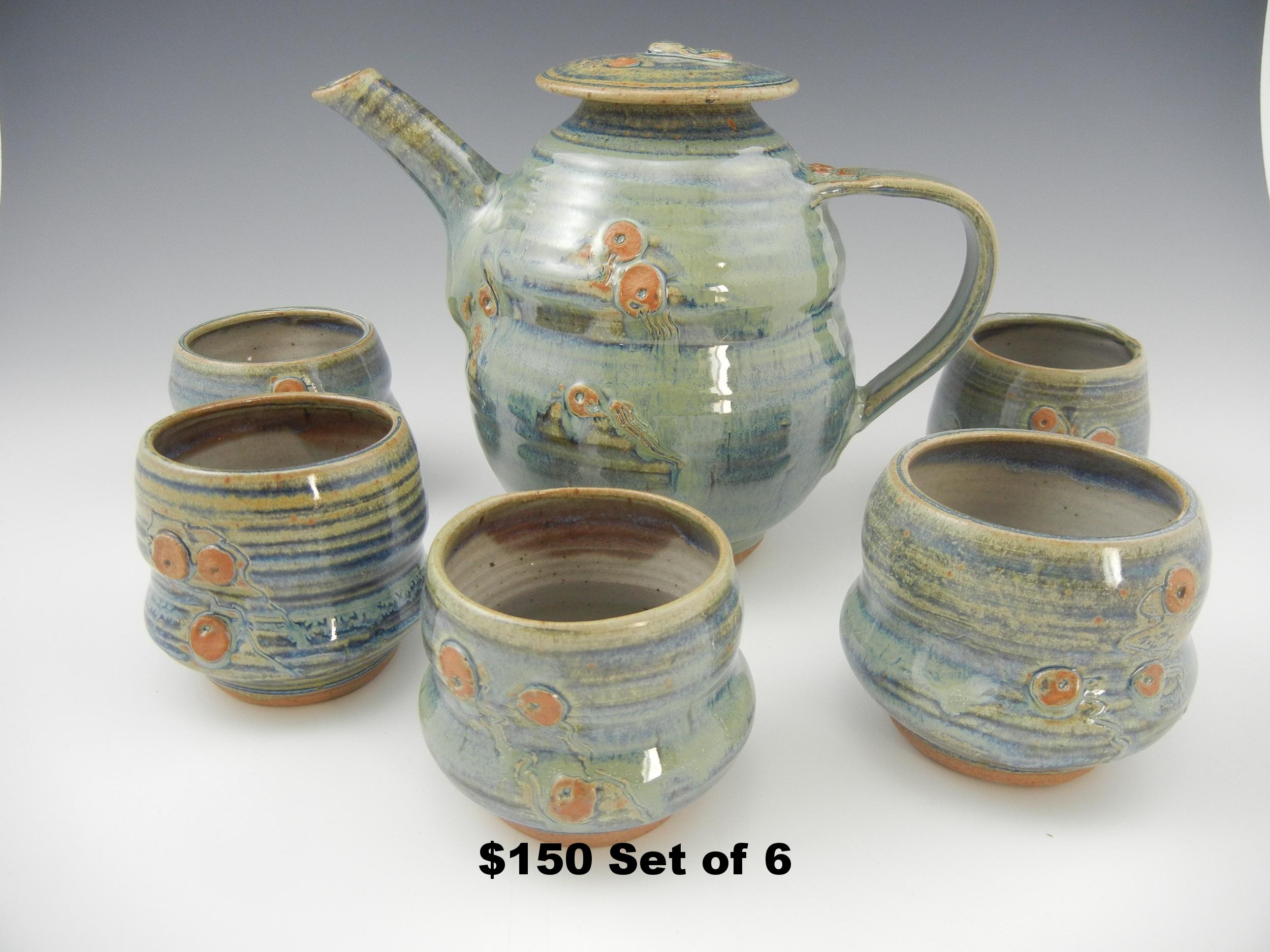 Sage Teapot Set of 6