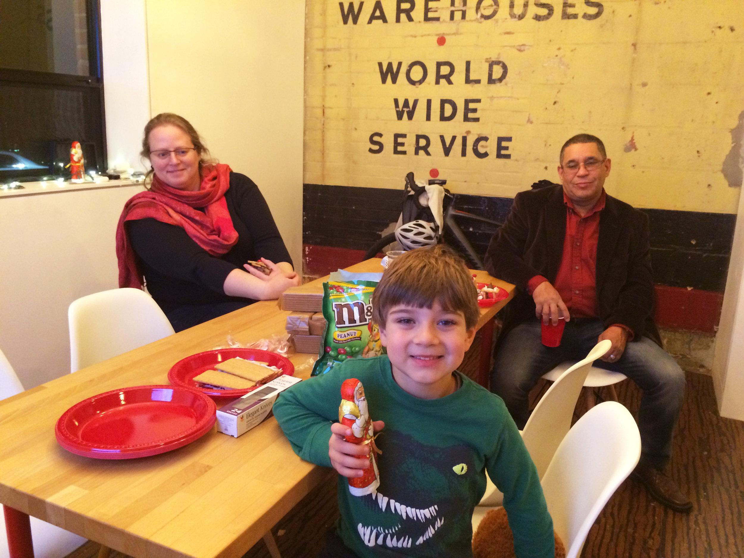 Noah, age 5, awarded chocolate Santa