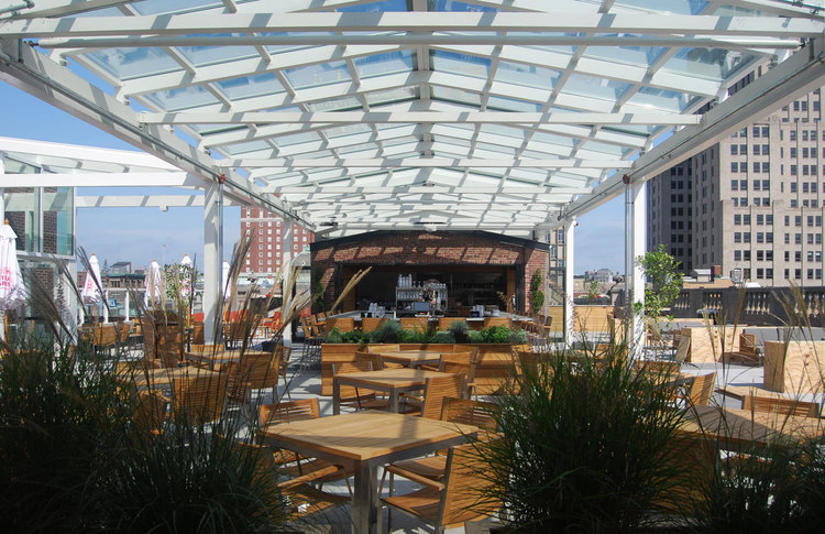 The rooftop restaurant at the G brings crowds looking to lounge within the sky scape of Providence