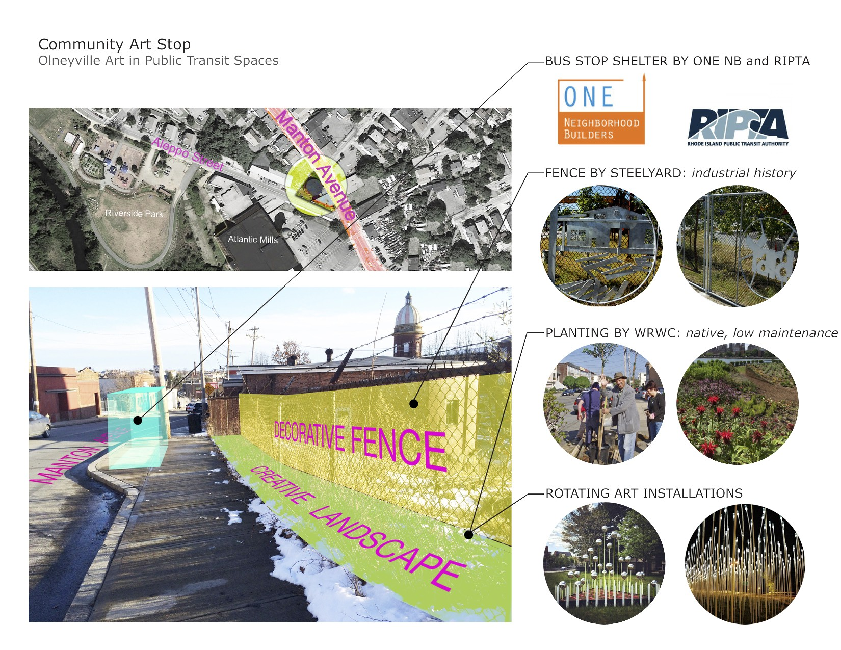 """The """"Community Art Stop"""" project assists and enriches existing efforts to create safe and attractive bus stops along Manton Avenue. Our proposal seeks to make this streetscape into a revolving urban art exhibit"""
