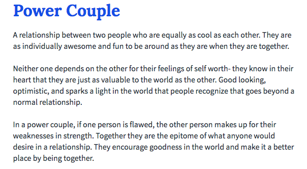 Urban Dictionary definition of a Power Couple