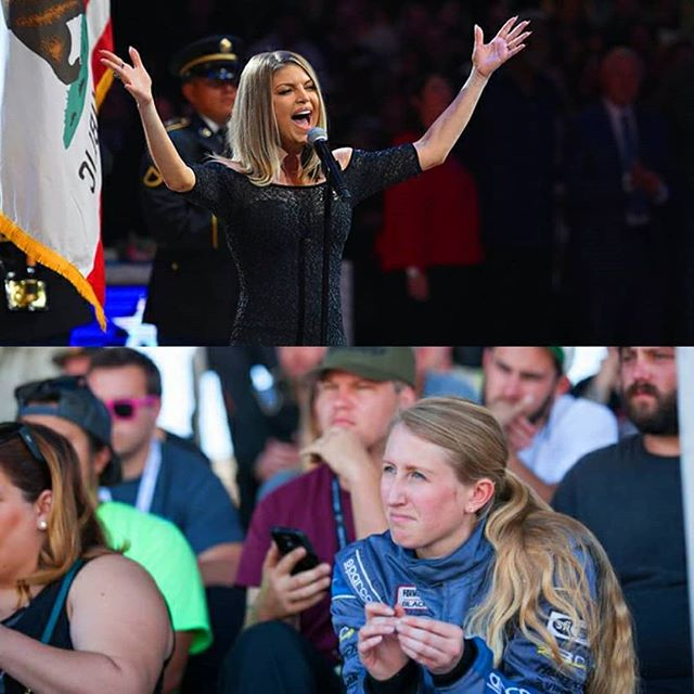 | Please rise for the national anthem: @kelseyrowlings 😂 . . . Photo @superstreet @bgr @kelseyrowlings #starspangledbanner #fergie #warriorsvsraptors #neverforget #nationalanthem