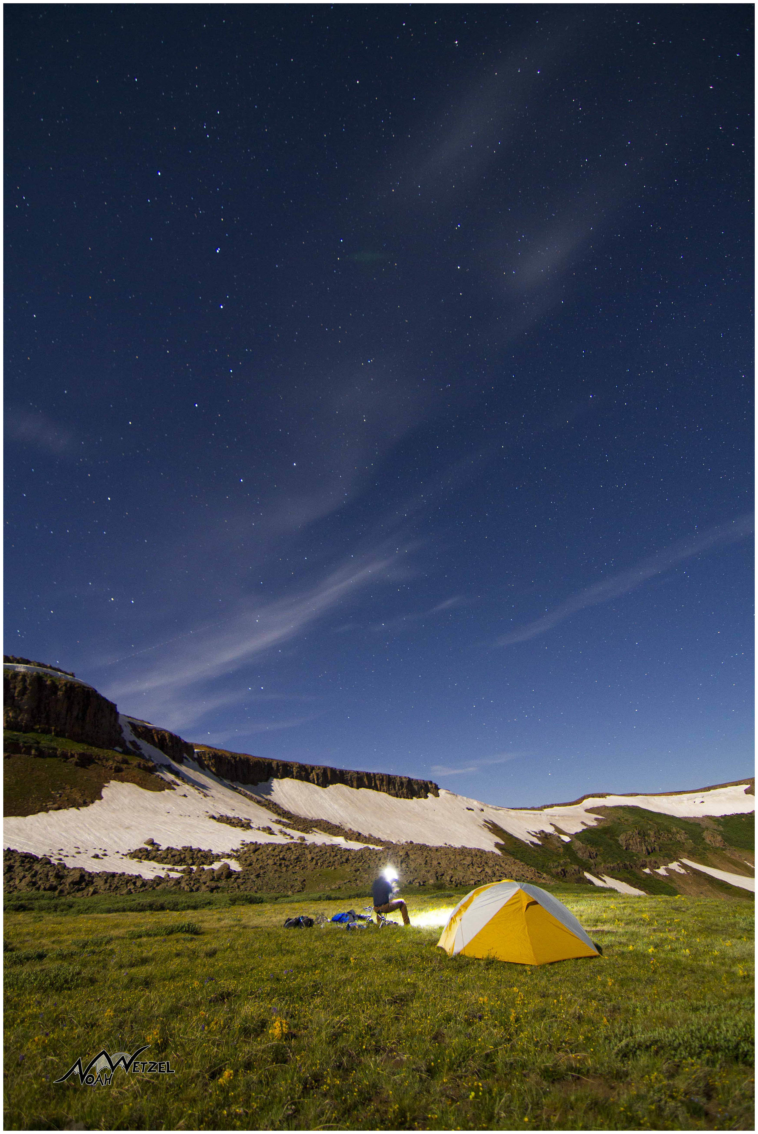 Ben cooking dinner underneath the Big Dipper. Flat Tops Wilderness, CO