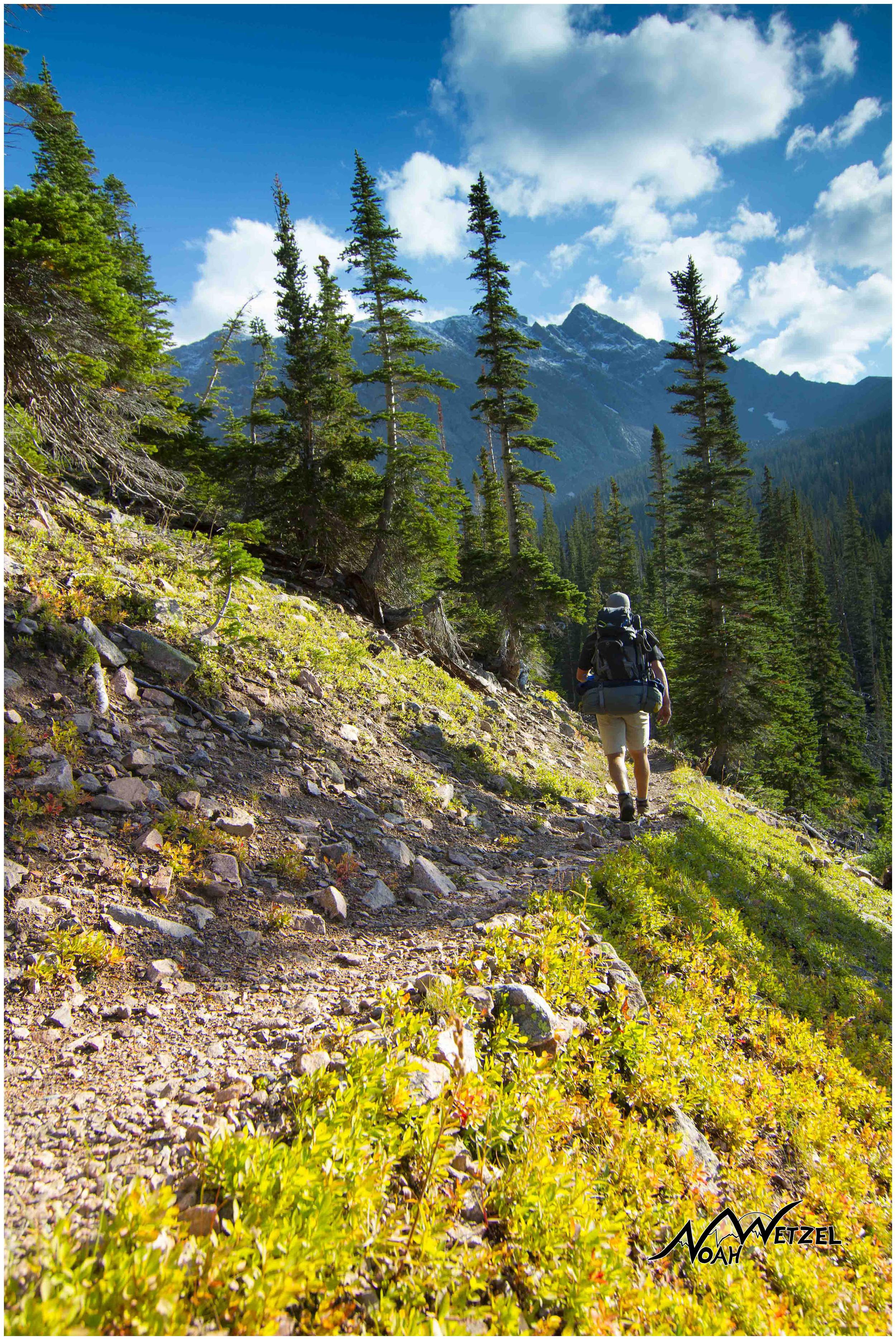 Ben approaching Upper Cataract Lake. Eagles Nest Wilderness