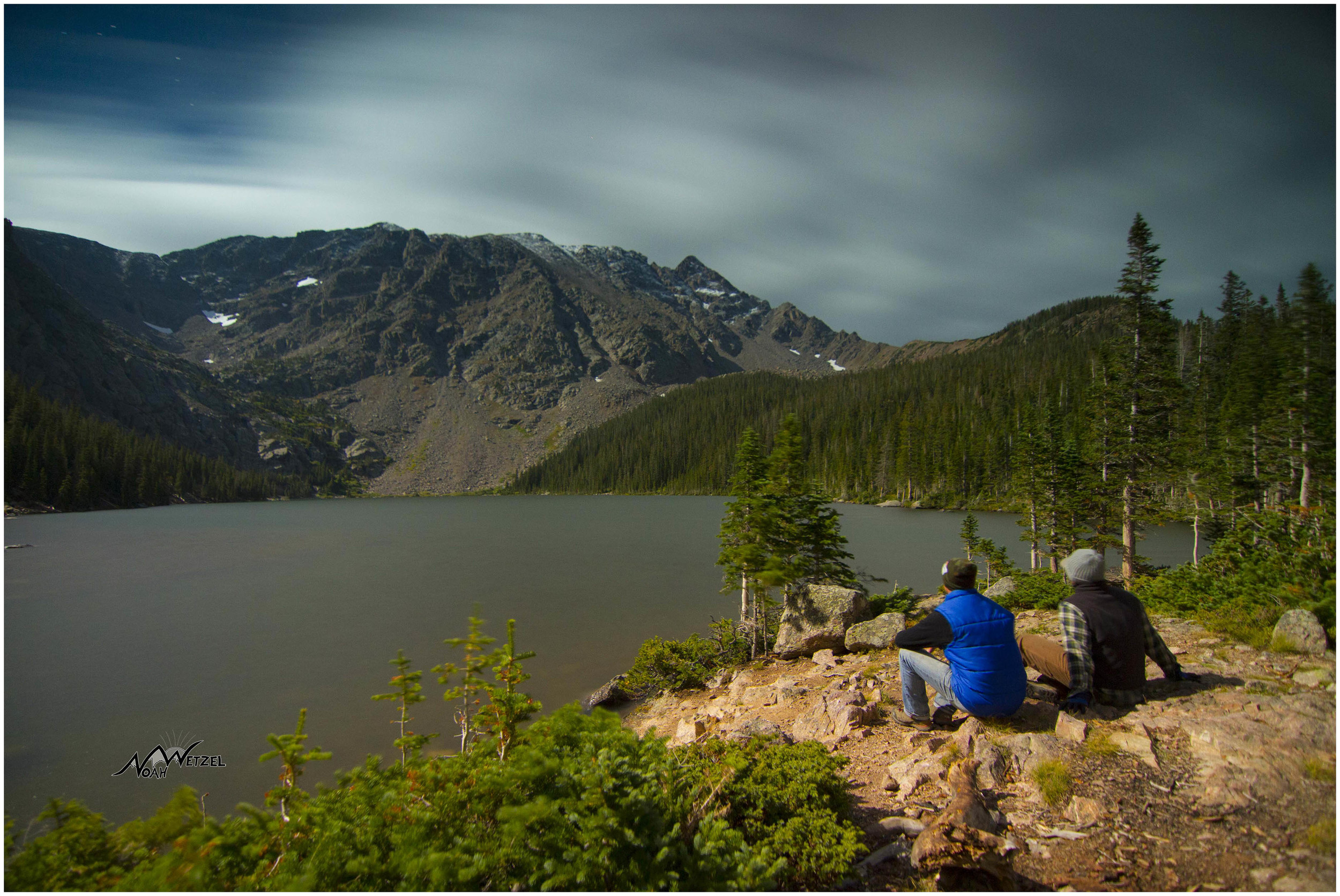 Ben and I overlooking Upper Cataract Lake underneath our massive Super Moon nightlight.