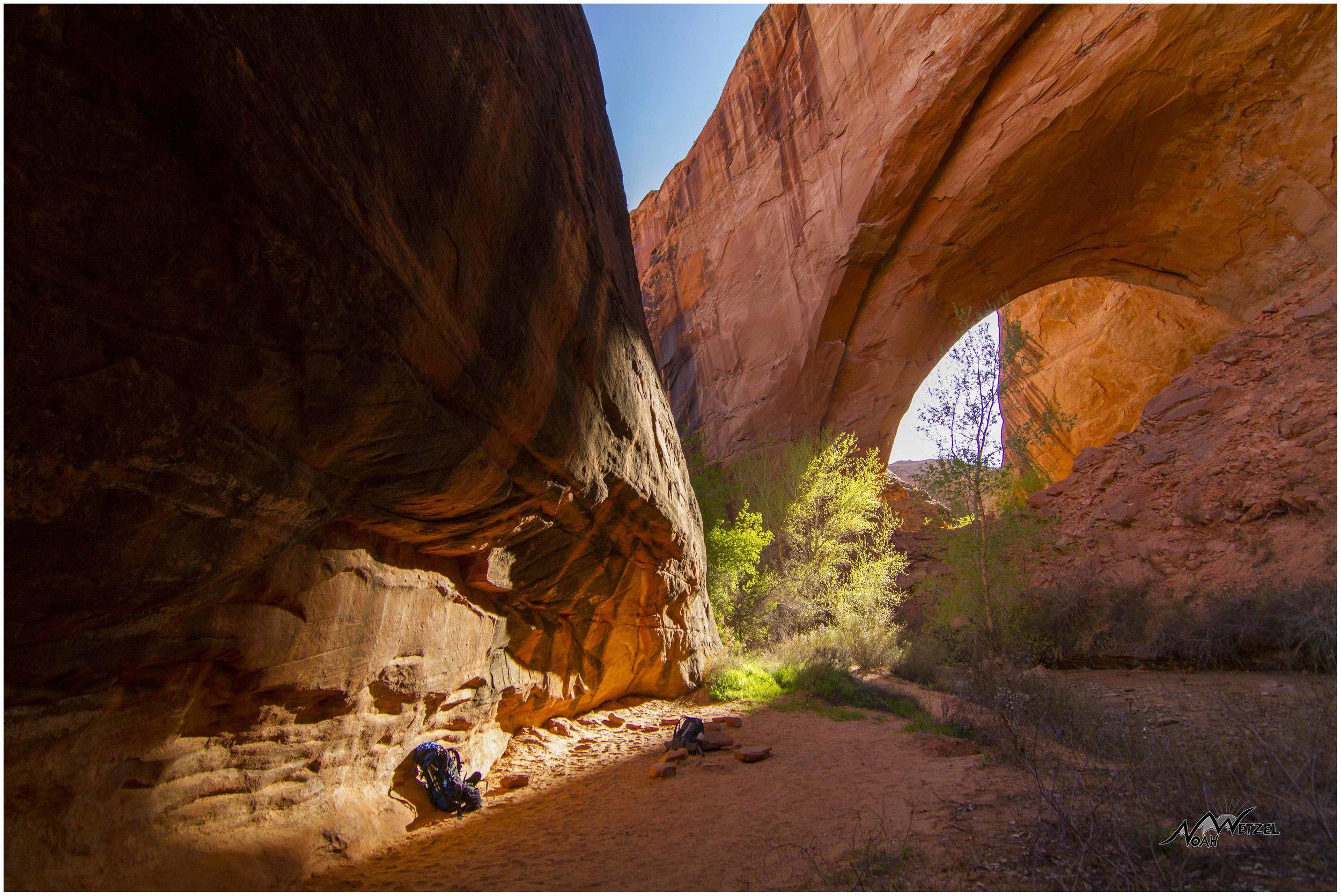 Looking back at Jacob Hamblin Arch. Coyote Gulch. Escalante, Utah