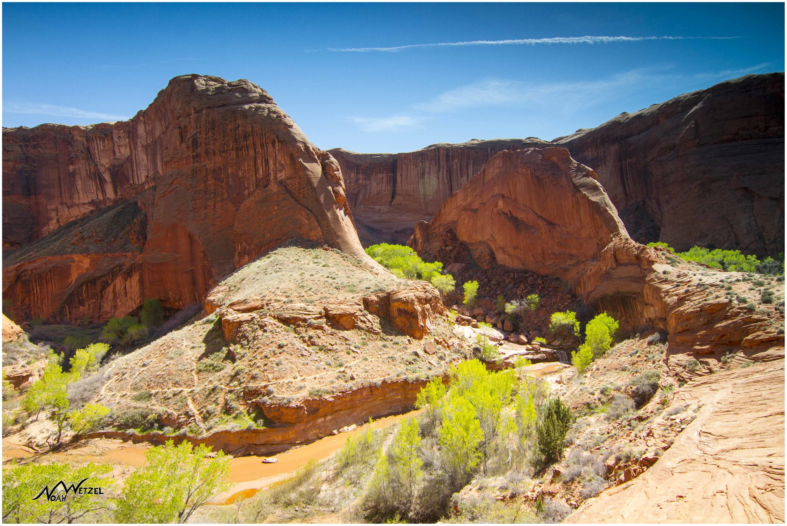 Overlooking the Waterfall Oasis. Coyote Gulch. Escalante, Utah
