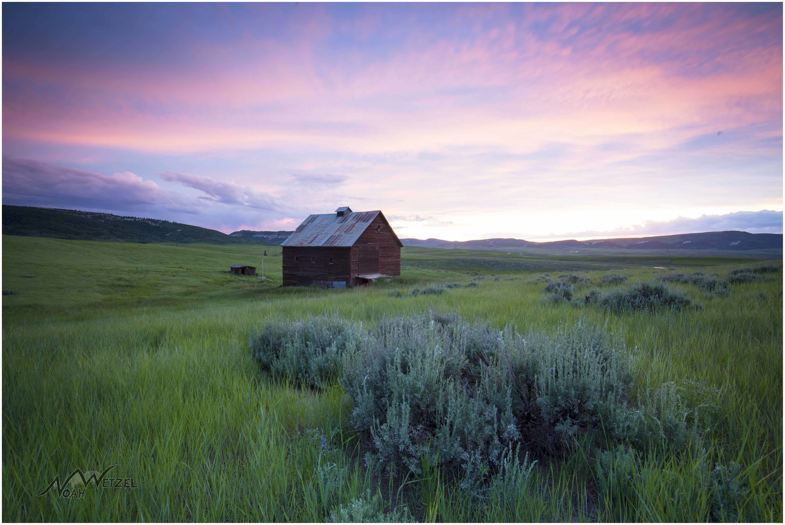 Barn Sunset. 20 Mile Rd. Steamboat Springs, Colorado