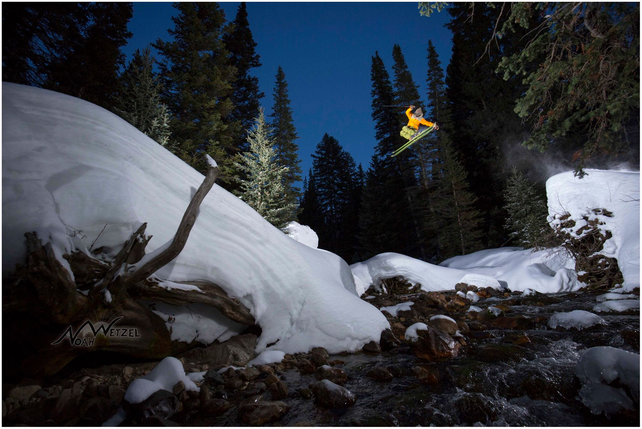 PORTFOLIO   IMAGE   4  of  9  WILLIE NELSON gapping a creek below Snowbird Ski & Summer Resort, Utah!