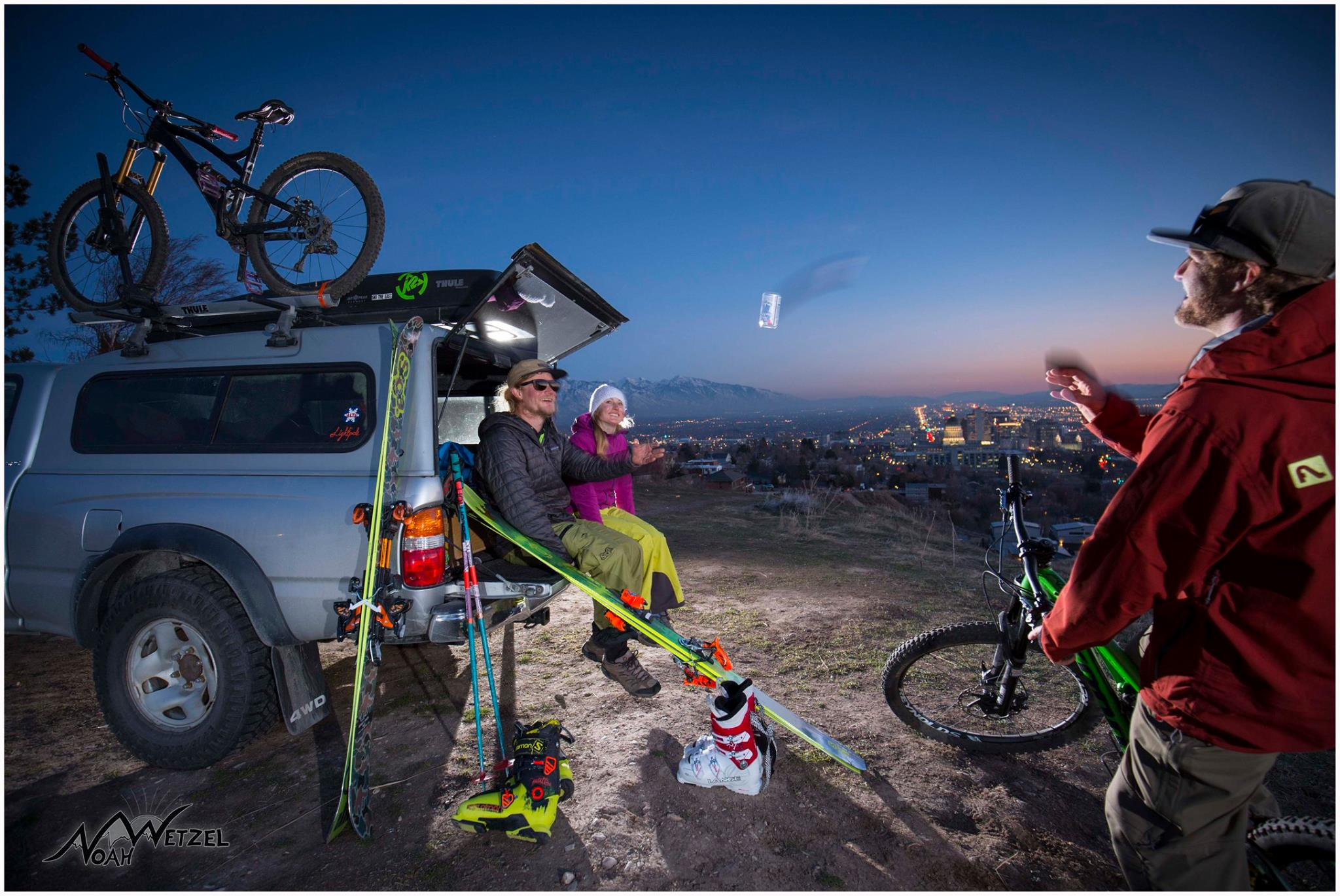 PORTFOLIO  IMAGE   9  of  9  Off The Mountain Category. Willie Nelson, Lucy Sackbauer, and Chris Brule enjoying Apres Ski/Bike above the capital in Salt Lake City, Utah!