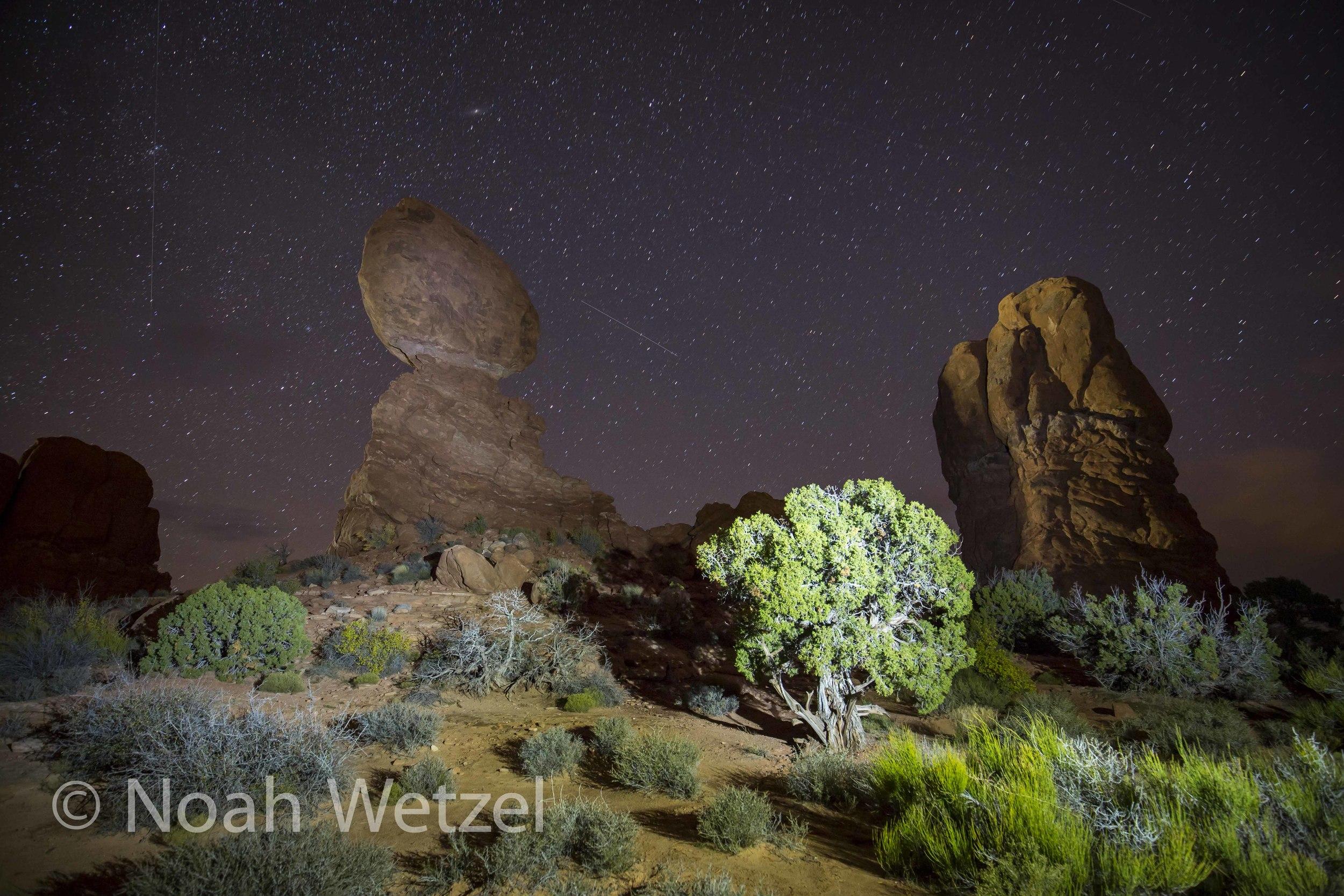 Balanced Rock Light Painting. Arches National Park, Moab, Utah.