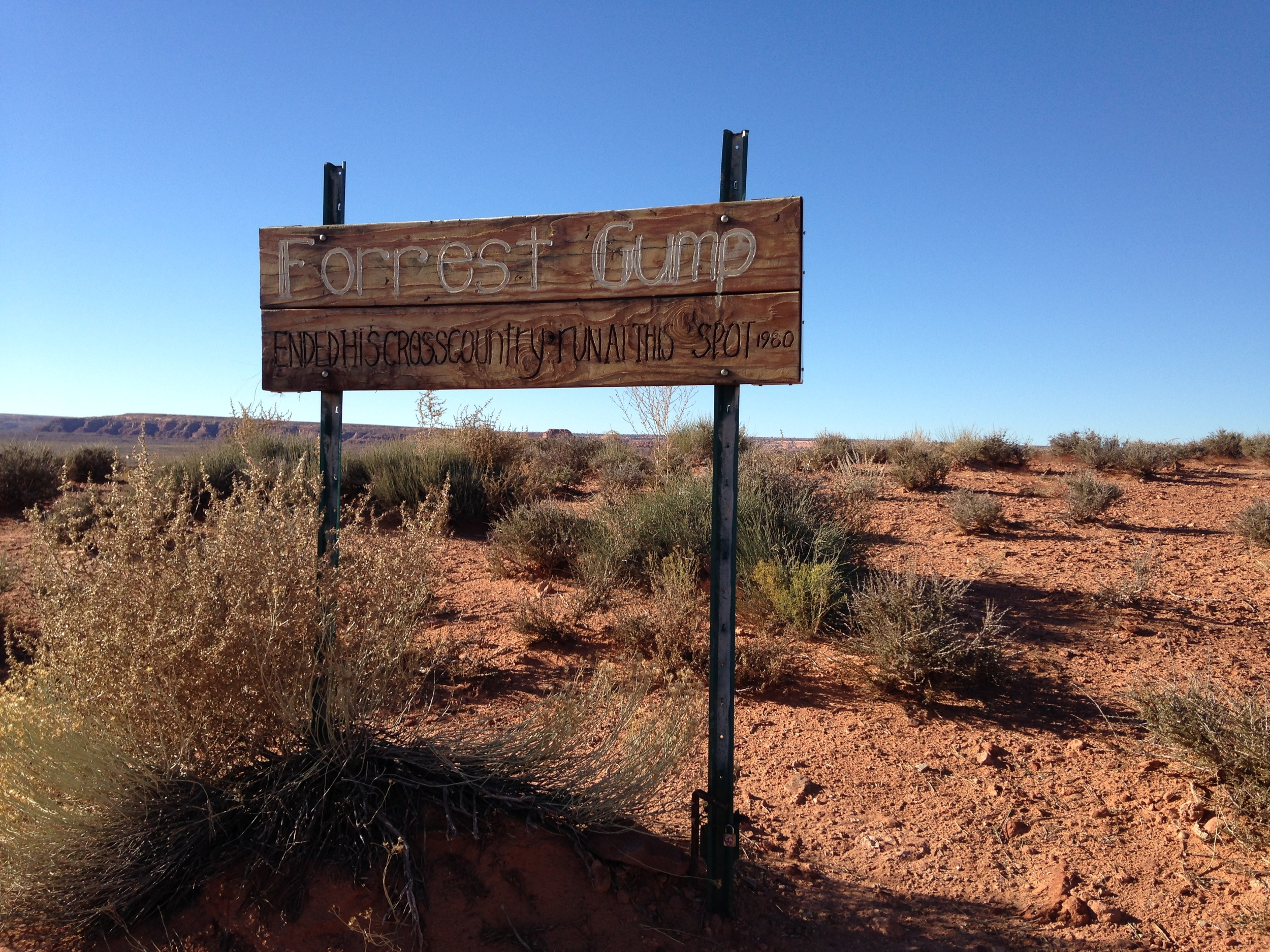 Forest Gump ended his cross country run at this spot 1980! Monument Valley, Arizona