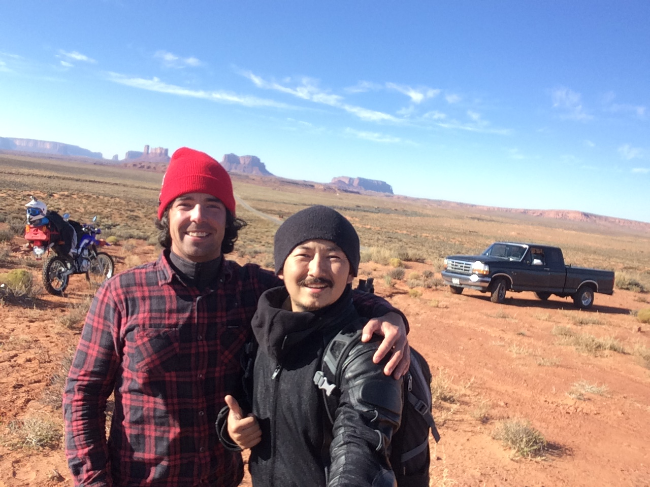Myself and Airken...with our trusty mobiles. Monument Valley, Arizona