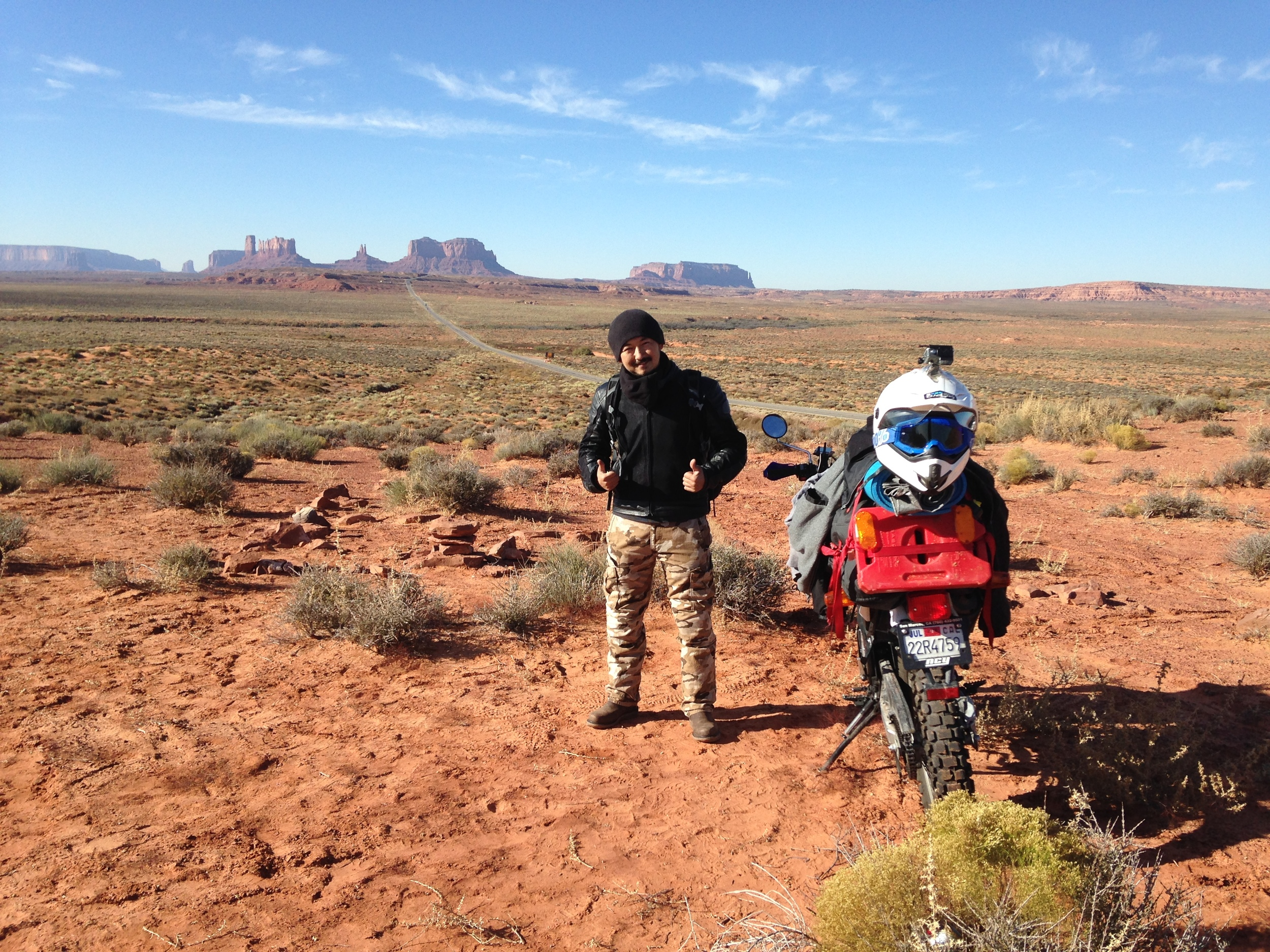 Airken before hitting the road in Monument Valley, Arizona
