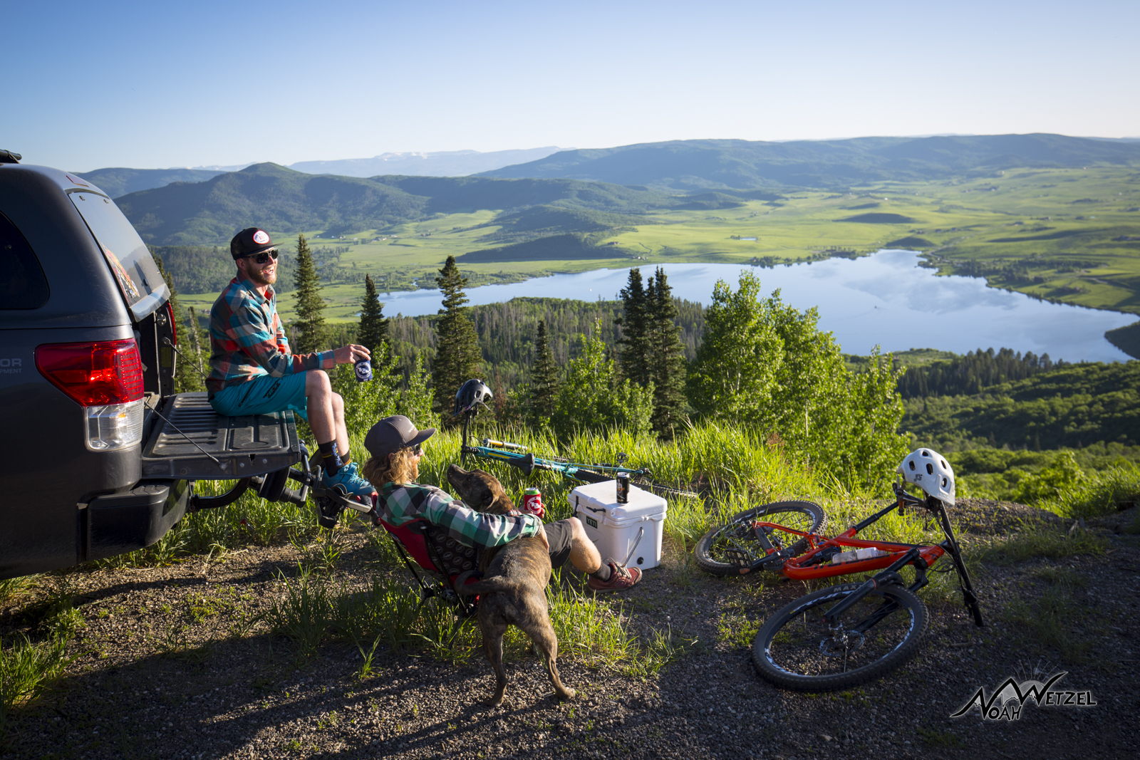 Justin Reiter and Mike Rundle overlooking the Yampa Valley on Rabbit Ears Pass. Colorado.