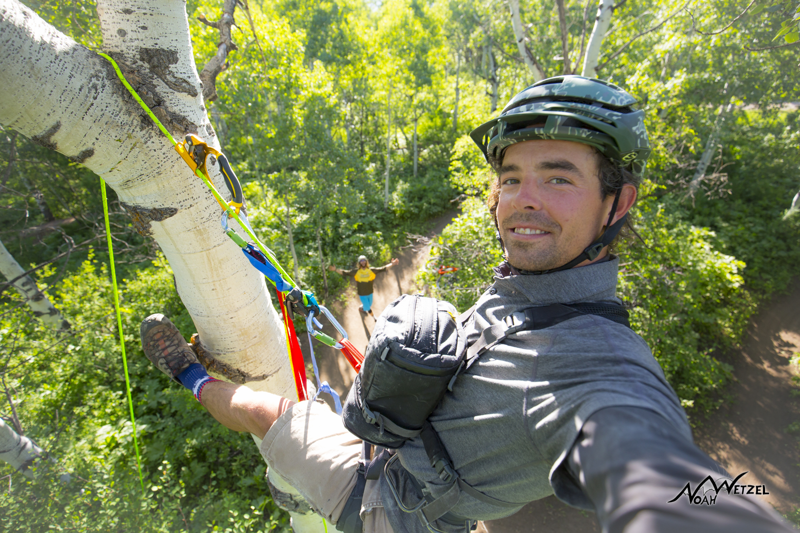 Selfie...up in the trees shooting Mike Rundle on NPR. Emerald Mountain. Steamboat Springs, Colorado.