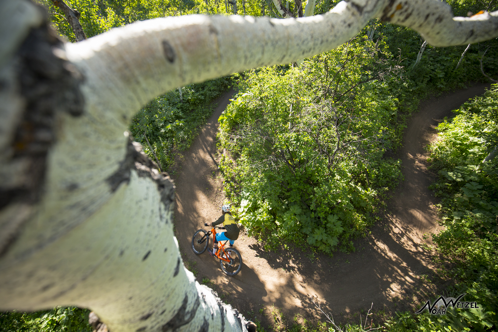 Mike Rundle ripping through a berm on NPR on Emerald Mountain. Steamboat Springs, Colorado