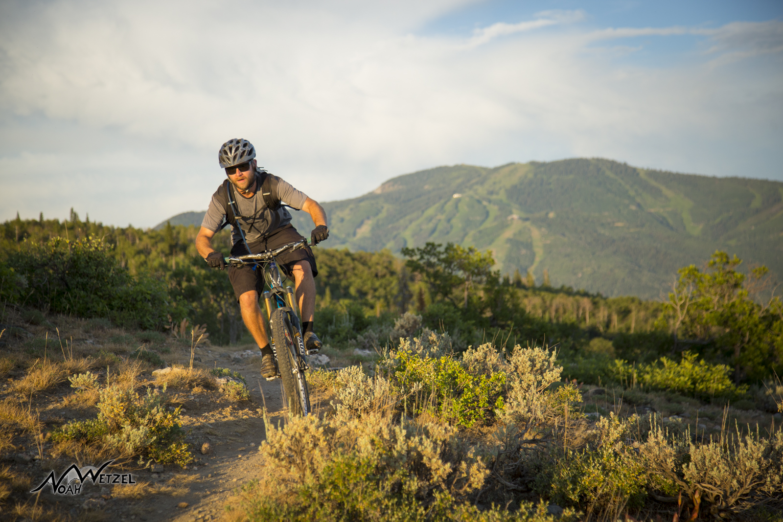 Jared Terrio riding on the Beall Trail. Emerald Mountain. Steamboat Springs, Colorado.