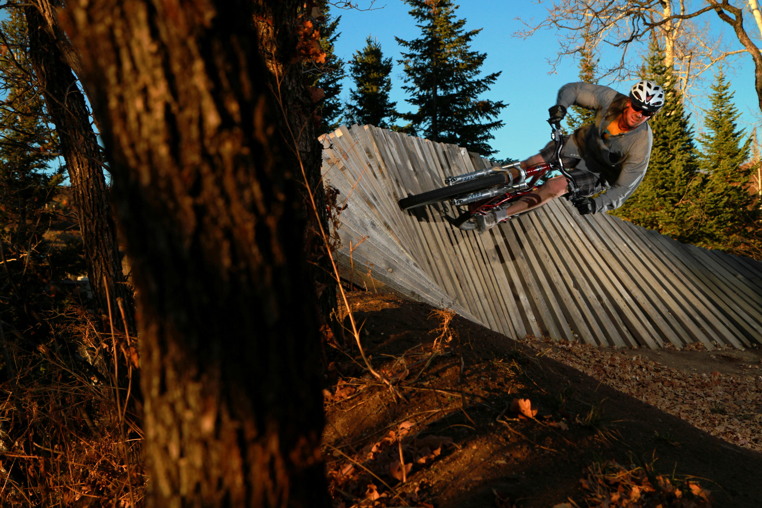 Aryeh Copa railing the wall ride on Buckin Bron at Steamboat Resort. Steamboat Springs, Colorado.