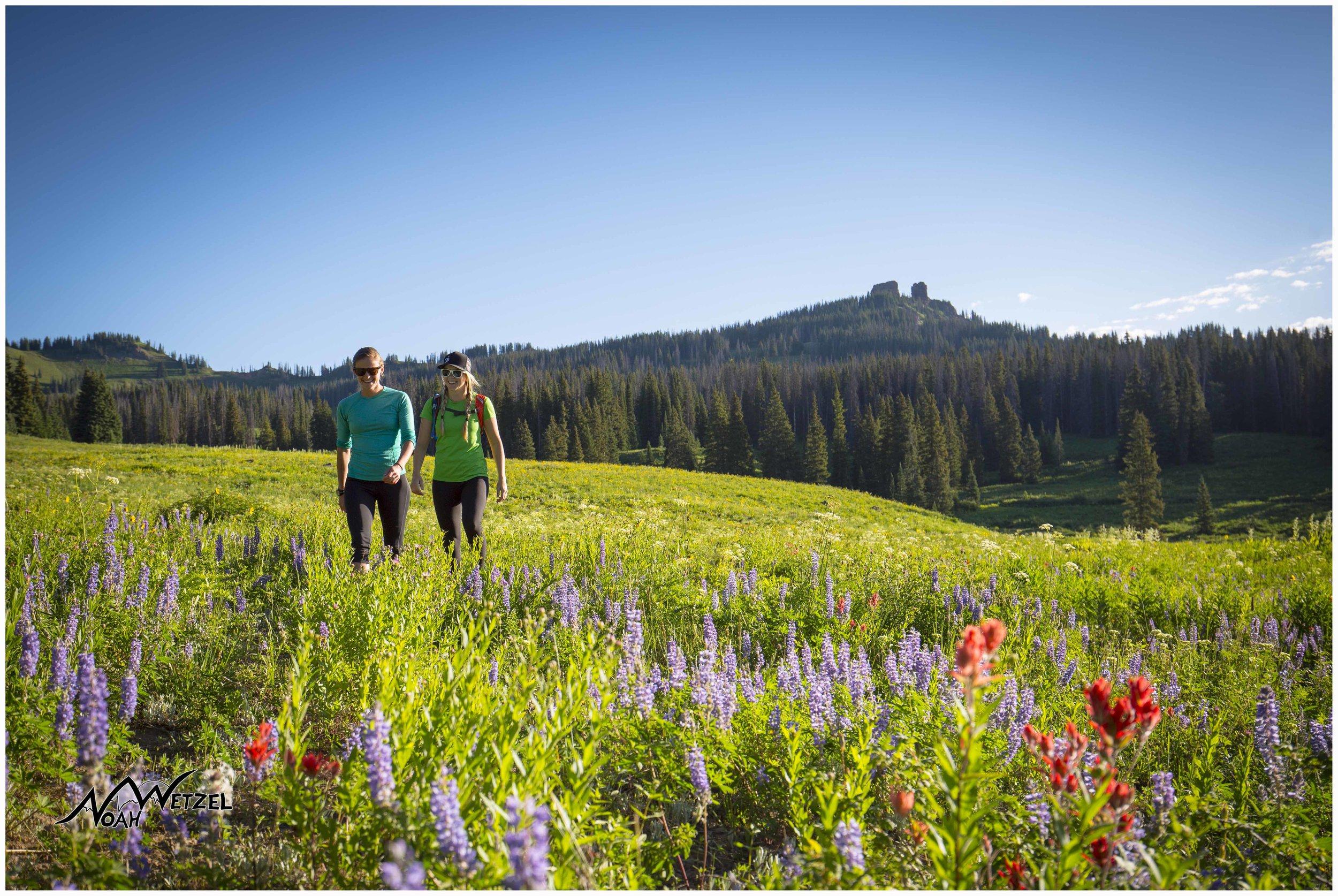 Jordan Edwards and Miranda Schrock hike Rabbit Ears Peak. Colorado