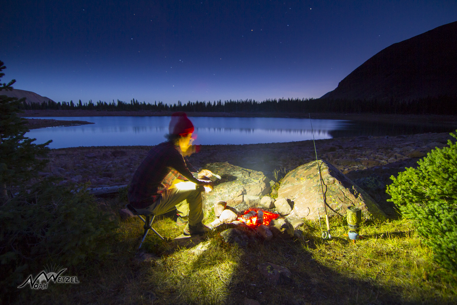 Self Portrait. Cooking up a freshly caught fish dinner at the 11,100ft East Timothy Lake. High Uintas Wildereness, Utah.