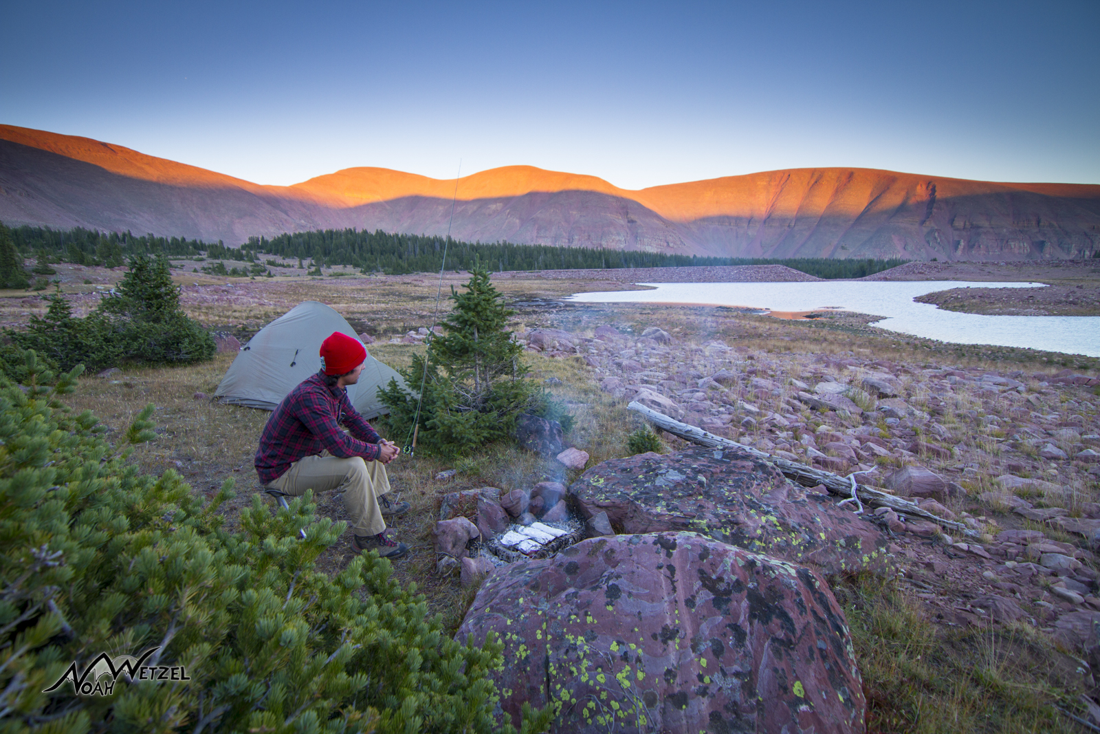 Self Portrait. Enjoying twilight while cooking up some fish at East Timothy Lake. High Uintas Wilderness