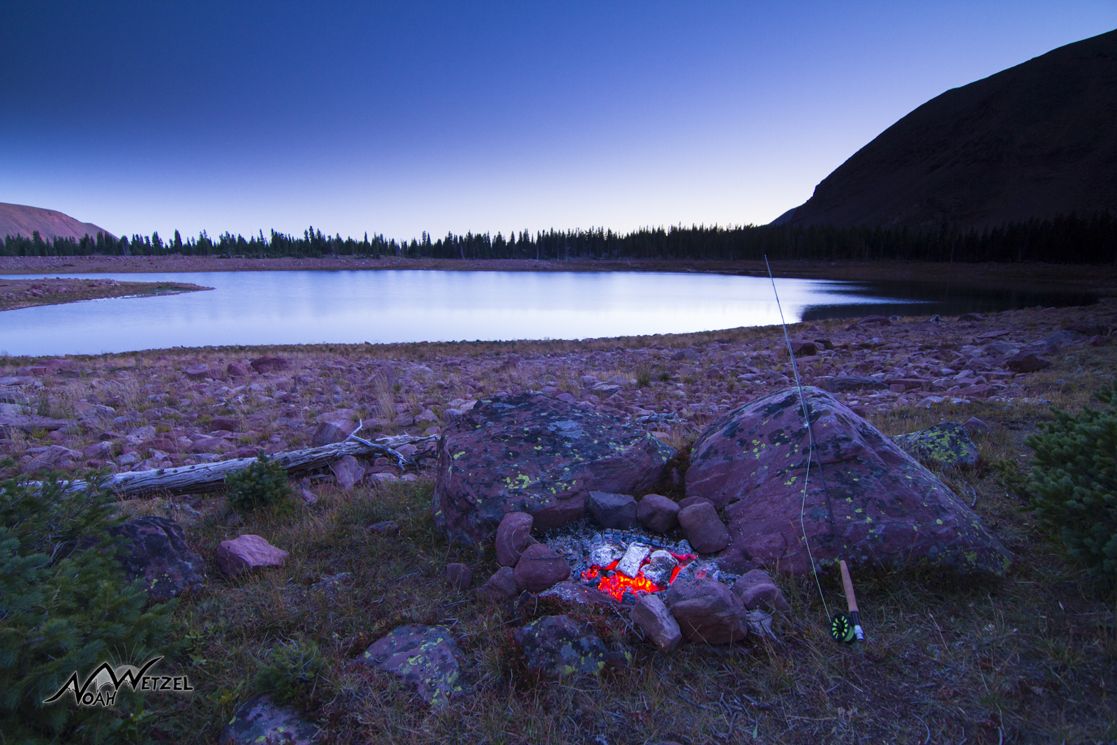 Cooking freshly caught fish at East Timothy Lake. High Uintas Wilderness. Utah