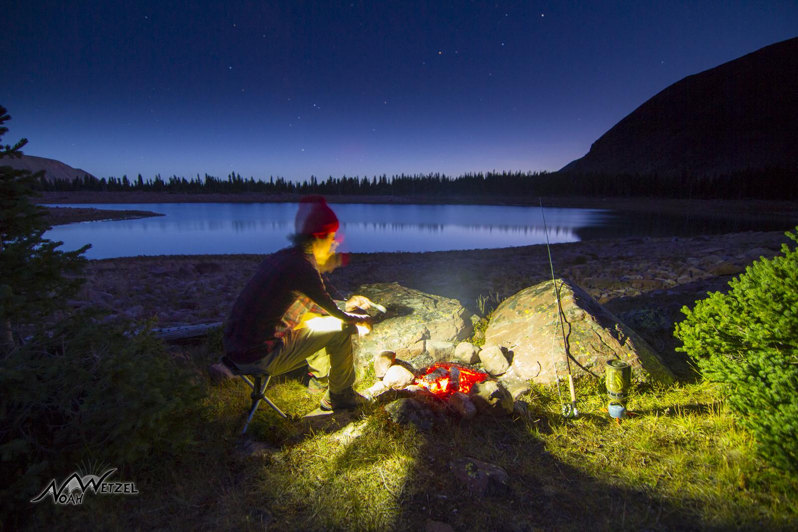 Cooking fish at East Timothy Lake. High Uintas Wilderness. Utah